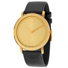 Sapphire Gold Dial Black Leather Watch 0606883