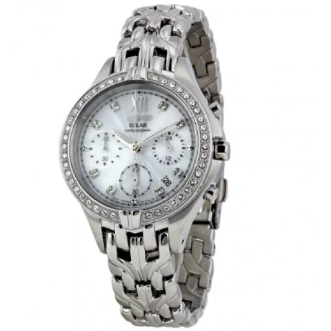 Solar Excelsior Chronograph Silver Dial Stainless Steel Ladies Watch
