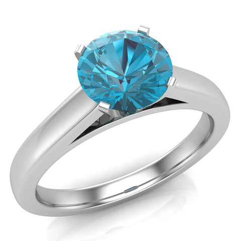 Round Brilliant Blue Diamond Cathedral Setting Engagement Ring in 14k Gold (Blue,I1) - White Gold