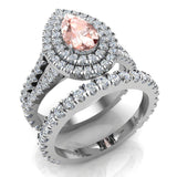 Pear Cut Pink Morganite Double Halo Wedding Ring Set 14K Gold (G,SI) - White Gold