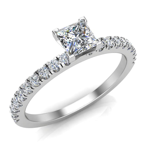Petite Engagement rings for women Princess Cut diamond ring 18K Gold 0.65 carat (G,VS) - White Gold