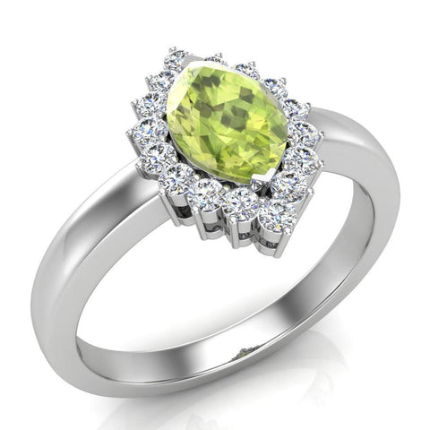 August Birthstone Peridot Marquise 14K Gold Diamond Ring 1.00 ct tw - White Gold