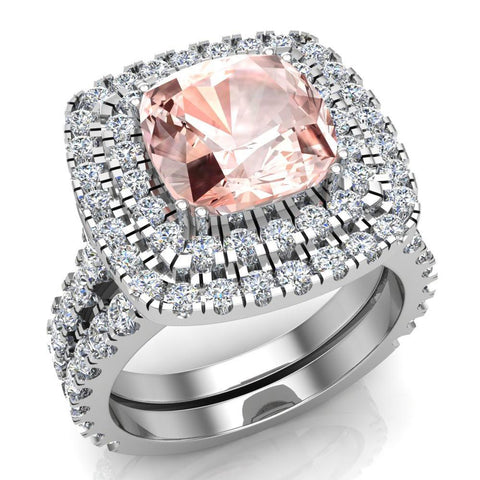 Pink Morganite Cushion Cut Double Halo Diamond wedding rings for women 18K Gold 3.80 ctw (G,VS) - White Gold