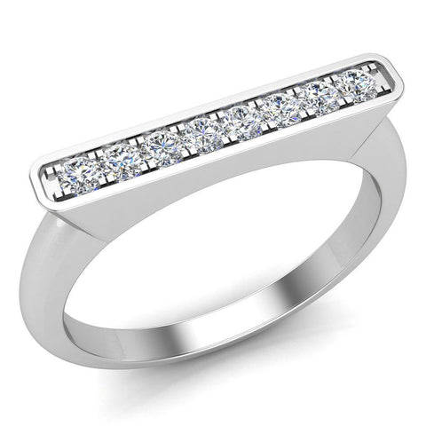 Stacking Band Bar Ring Diamond Wedding or Anniversary 0.14 ctw 14K Gold (I,I1) - White Gold