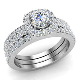 Round Cut Cushion Halo Ring Set w/ Enhancer Bands 1.33 Carat Total Weight 14K Gold (G,I1) - White Gold