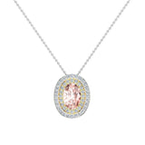 Oval Cut Pink Morganite Double Halo 2 tone necklace 14K Gold (G,SI) - Yellow Gold