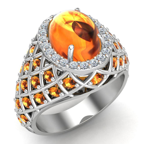 Cabochon Citrine & Diamond Cocktail Ring Halo Style Dome Shape Fashion Ring 2.93 Carat Total Weight 18K Gold - White Gold