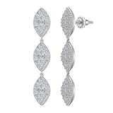 Marquise Diamond Chandelier Earrings Waterfall Style 14K Gold (G,SI) - White Gold