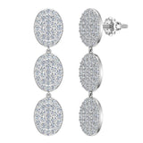 Oval Diamond Chandelier Earrings Waterfall Style 14K Gold (G,SI) - White Gold