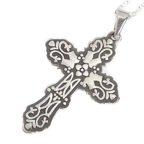 "Artisan Crafted Sterling Cross Pendant w/24"" Chain"