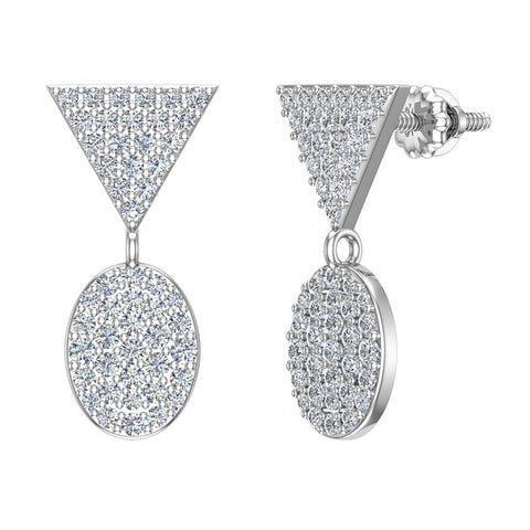 Diamond Dangle Earrings Oval Pattern Cluster Triangle Top 14K Gold 0.90 ctw (I,I1) - White Gold