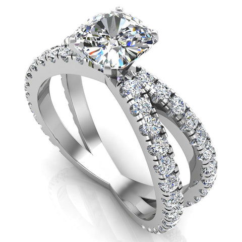 X Cross Split Shank Square Cushion Shape Diamond Engagement Ring 1.75 carat Total 18K Gold - White Gold