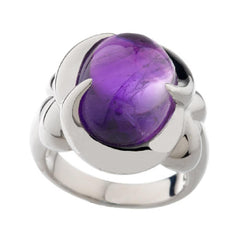 Sterling Bold Gemstone Cabochon Swirl Design Ring