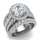 Moissanite Wedding Ring Set for Women 14K Gold Real Diamond accented Ring Channel Set 7.05 carat tw (G,SI) - White Gold