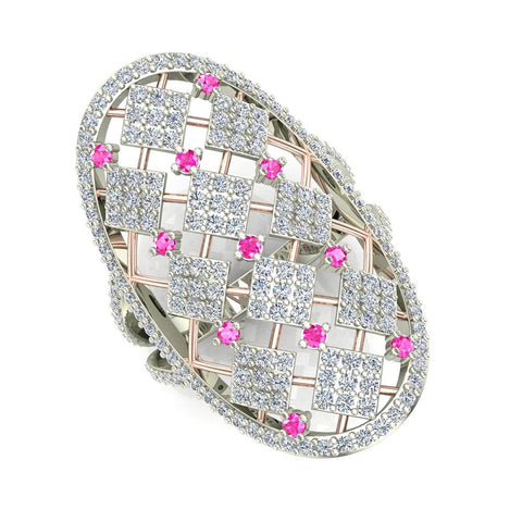 14K Gold Two-Tone Oval Shape Pink Sapphire and Diamond V Shank Cocktail Ring 1.40 ctw (I,I1) - White Gold