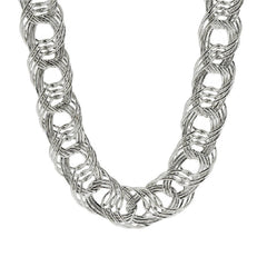 "Sterling Bold Woven 20"" Necklace, 51.50g"