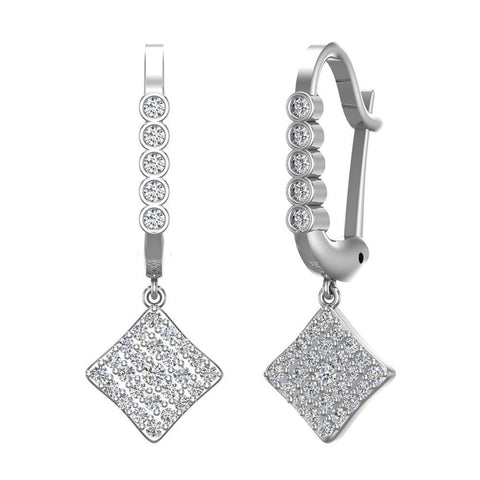Square Diamond Dangle Earrings Dainty Drop Style 14K Gold 1.31 ctw (G,SI) - White Gold