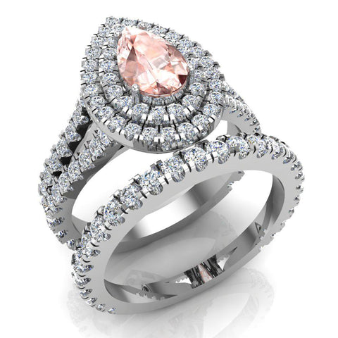 Pear Cut Pink Morganite Double Halo Wedding Ring Set 14K Gold (I,I1) - White Gold