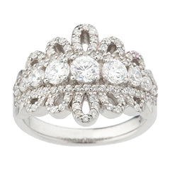 Diamonique Enlightened Sterling 1.35 ct tw Royal Lace Ring