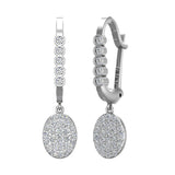Oval Diamond Dangle Earrings Dainty Drop Style 14K Gold 0.70 ctw (I,I1) - White Gold