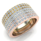 Stacking Dual Row Wide Round Diamond Wedding Band 0.81 ctw 14K Gold (G,I1) - White Gold