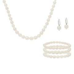 Honora Cultured Pearl Necklace, Earrings and 3 Bracelets Boxed Gift Set