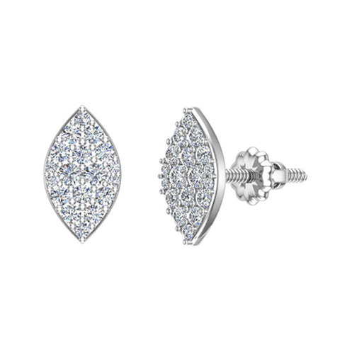 Exquisite Marquise Pave Diamond Stud Earrings 1/2 ctw 14K Gold (G,SI) - White Gold