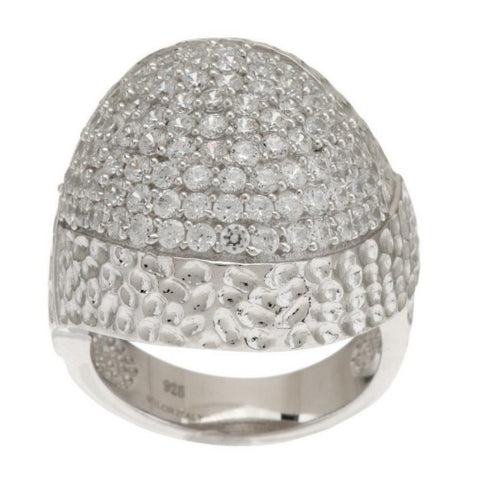Italian Silver Sterling Pave' Crystal Domed Ring