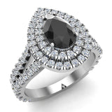 14K Gold Engagement Rings for Women Pear Cut Black Diamond Double Halo Rings 2.89 carat (I,I1) - White Gold