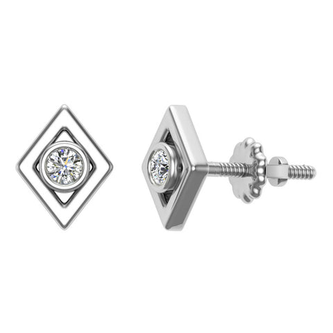 Diamond Earrings Kite Shape Studs Bezel Settings 10K Gold (J,SI2-I1) - White Gold