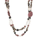 """As Is"" Lee Sands Multi-Gemstone Carved Flower 20"" Necklace"