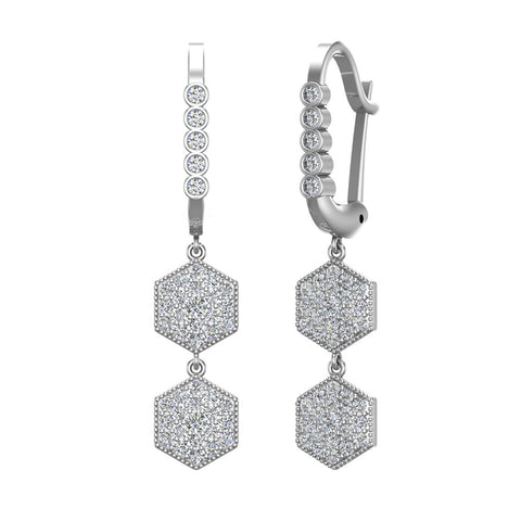 Hexagon Diamond Dangle Earrings Dainty Drop Style 14K Gold 1.05 ctw (G,SI) - White Gold