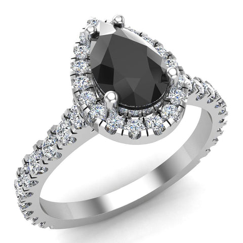 Pear Cut Black Diamond Halo Engagement Ring 14K Gold (I,I1) - White Gold