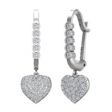 Heart Diamond Dangle Earrings Dainty Drop Style 14K Gold 0.75 ctw (G,SI) - White Gold