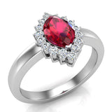 July Birthstone Ruby Marquise 14K Gold Diamond Ring 1.00 ct tw - White Gold