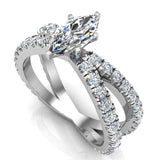 X Cross Split Shank Marquise Cut Diamond Engagement Ring 1.75 carat Total 14K Gold - White Gold