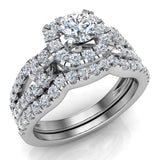 Wedding Ring Set for Women Accented Diamond Loop Shank 1.00 - 1.05 ctw Carat 14K Gold (I,I1) - White Gold