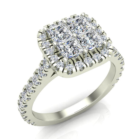 Princess Cushion Halo Diamond Engagement Ring 1.38 ctw 14K Gold (G,I1) - White Gold