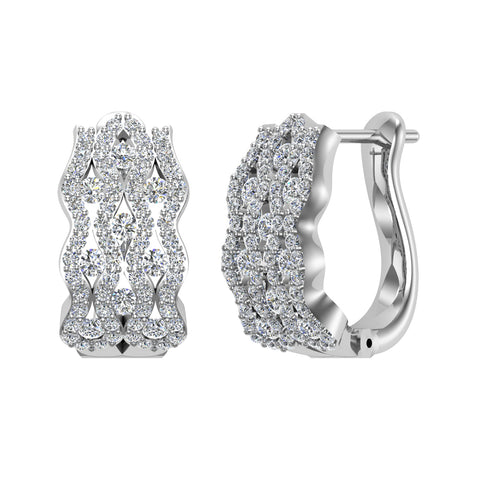 Intertwined Huggies Styled Diamond Hoop Earrings 14K White Gold (G,SI) - White Gold
