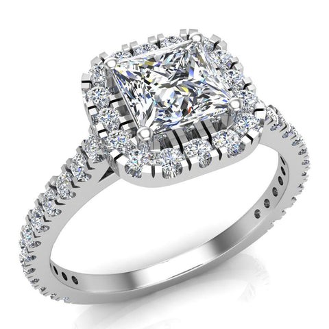 Princess Solitaire Cushion Halo Diamond Engagement Ring 1.30 ctw 18K Gold (G,SI) - White Gold