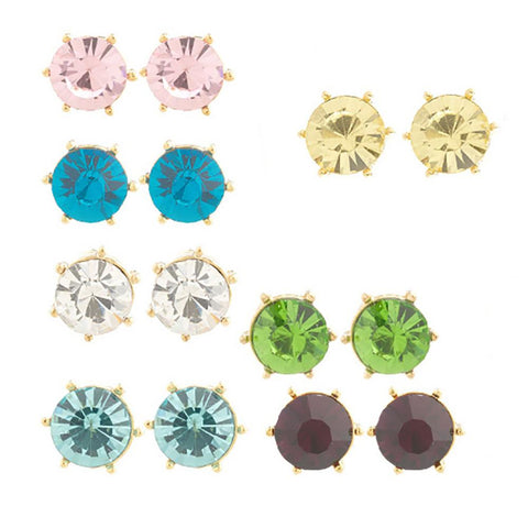 7 Pairs Colored Crystal Stud Earrings in Individual Gift Boxes