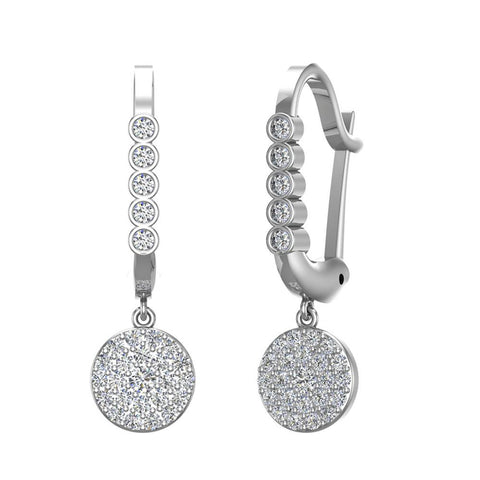 Circle Diamond Dangle Earrings Dainty Drop Style 14K Gold 1.31 ctw (I,I1) - White Gold