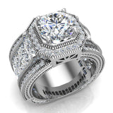 Large  Moissanite Engagement Ring 14K Gold Halo Rings for women 8.00 mm 6.85 carat (I,I1) - White Gold