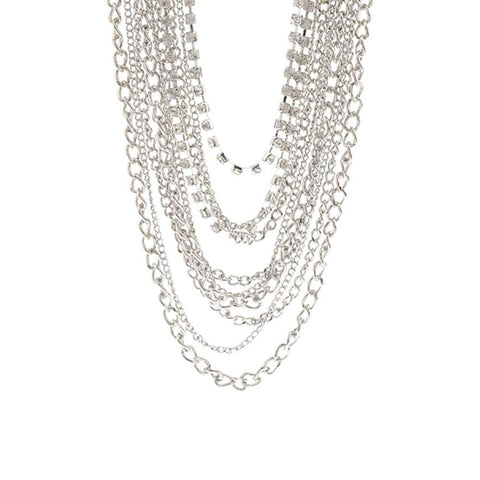 Multi-Strand Draping Chain & Crystal Link Necklace