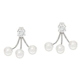Stainless Steel Crystal & Simulated Pearl Earring Jackets