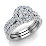 0.86 carat total weight Flower cluster Diamond Wedding Ring w/ Enhancer Bands Bridal set 14K Gold (G,SI) - White Gold