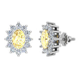 November Birthstone Yellow Citrine Diamond Stud Earrings Classic Oval Cut 14K Gold 1.50 cttw - White Gold
