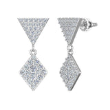 Kite Diamond Dangle Earrings 14K Gold (G,SI) - White Gold