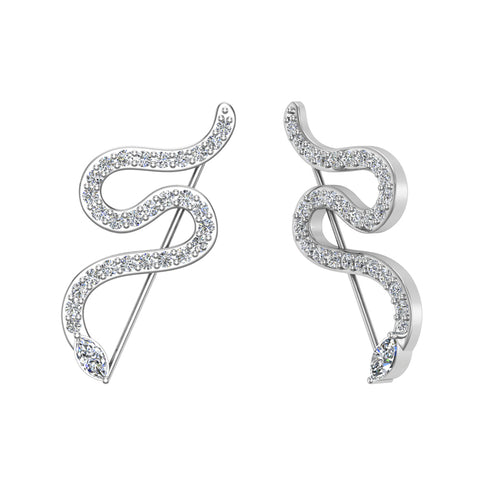 Snake style vines or Ear climber earrings 14K Gold (G,SI) - White Gold