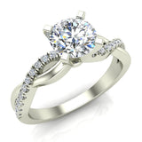 Twisting Infinity Diamond Engagement Ring 18K Gold 0.88 ctw (G,SI) - White Gold